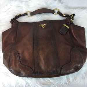 e901d2f16cd0 Prada · PRADA ANTIQUE BROWN CUERVO DEERSKIN LEATHER TOTE